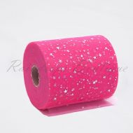 Hot Pink Sequin Star Tulle Roll